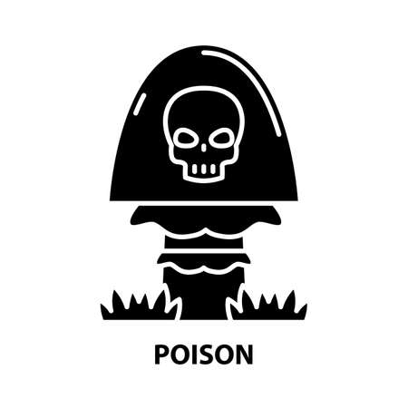 poison icon, black vector sign with editable strokes, concept illustration Illustration