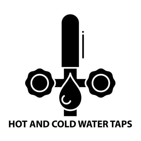 hot and cold water taps icon, black vector sign with editable strokes, concept illustration