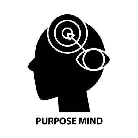 purpose mind icon, black vector sign with editable strokes, concept illustration
