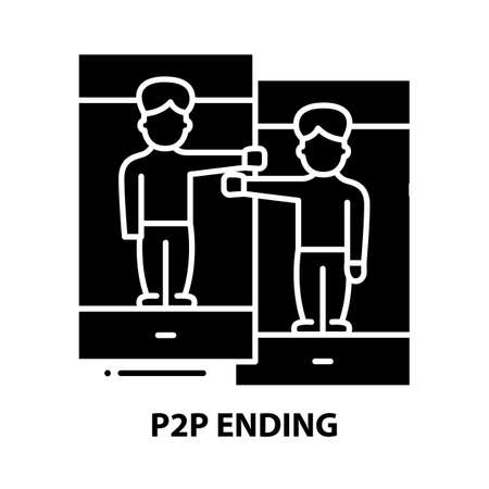 p2p ending icon, black vector sign with editable strokes, concept illustration