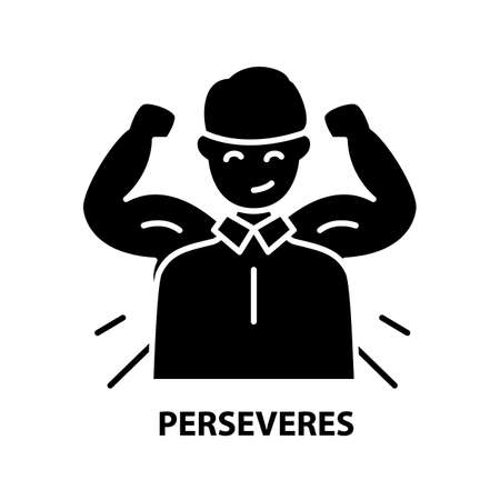 perseveres icon, black vector sign with editable strokes, concept illustration