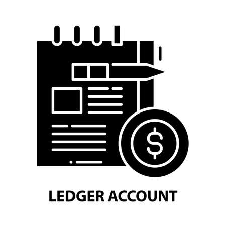 ledger account icon, black vector sign with editable strokes, concept illustration