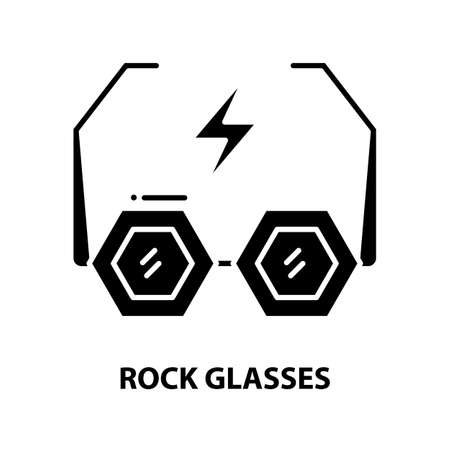 rock glasses icon, black vector sign with editable strokes, concept illustration
