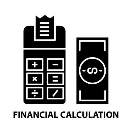 financial calculation symbol icon, black vector sign with editable strokes, concept illustration