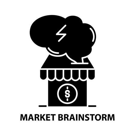 market brainstorm icon, black vector sign with editable strokes, concept illustration
