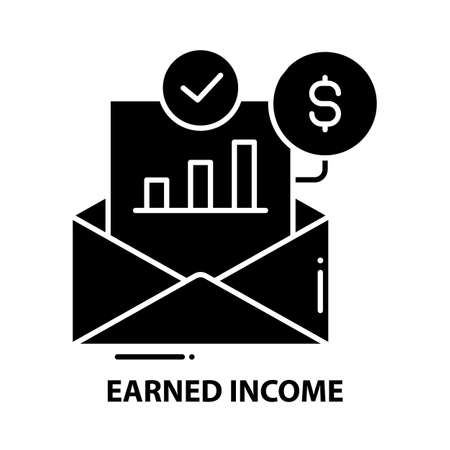 earned income icon, black vector sign with editable strokes, concept illustration