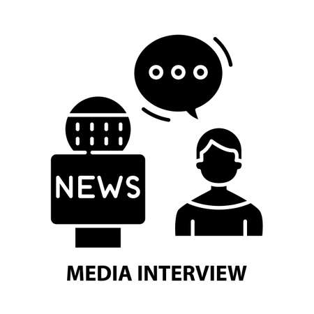 media interview icon, black vector sign with editable strokes, concept illustration