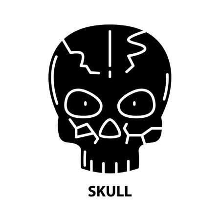 skull icon, black vector sign with editable strokes, concept illustration Illustration