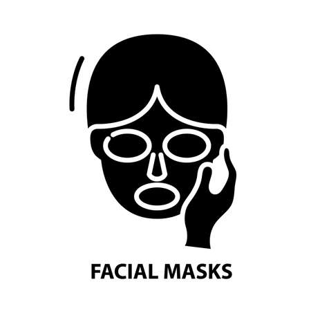 facial masks icon, black vector sign with editable strokes, concept illustration