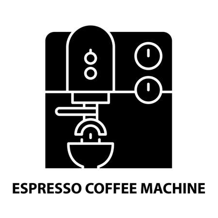 espresso coffee machine icon, black vector sign with editable strokes, concept illustration