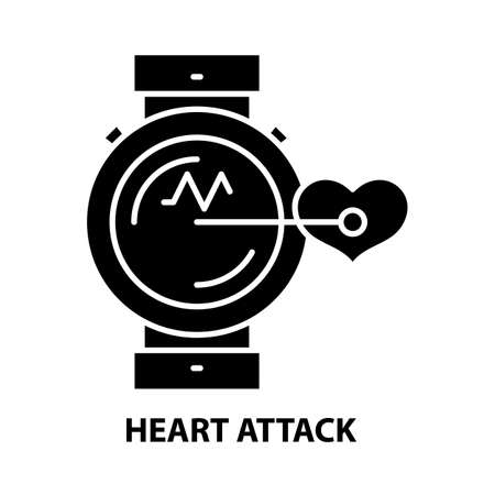 heart attack icon, black vector sign with editable strokes, concept illustration