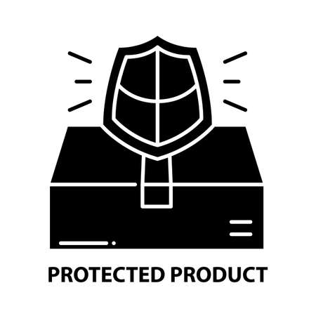 protected product icon, black vector sign with editable strokes, concept illustration