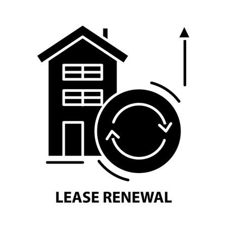 lease renewal icon, black vector sign with editable strokes, concept illustration