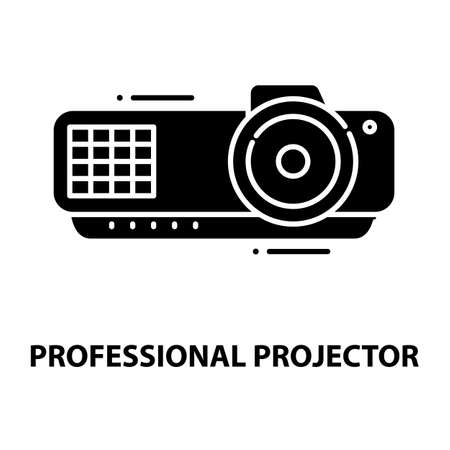 professional projector icon, black vector sign with editable strokes, concept illustration
