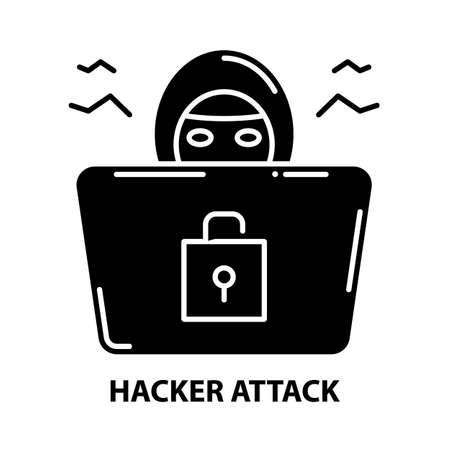 hacker attack icon, black vector sign with editable strokes, concept illustration 向量圖像