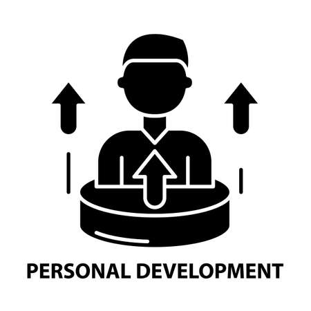 personal development icon, black vector sign with editable strokes, concept illustration