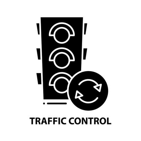 traffic control icon, black vector sign with editable strokes, concept illustration 向量圖像