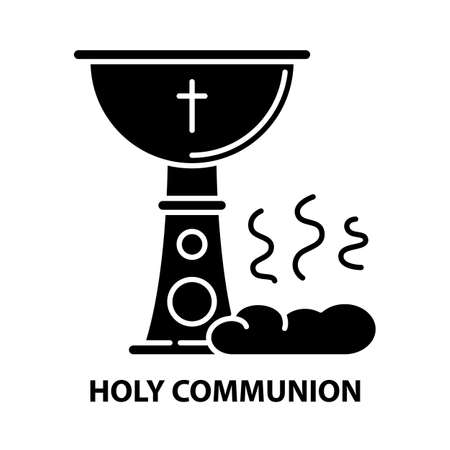 holy communion icon, black vector sign with editable strokes, concept illustration