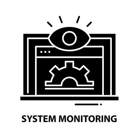 system monitoring icon, black vector sign with editable strokes, concept illustration