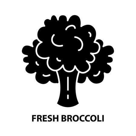 fresh broccoli icon, black vector sign with editable strokes, concept illustration
