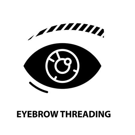 eyebrow threading icon, black vector sign with editable strokes, concept illustration Illustration