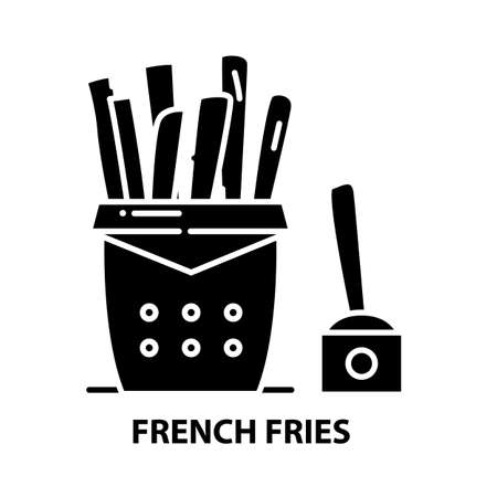 french fries icon, black vector sign with editable strokes, concept illustration