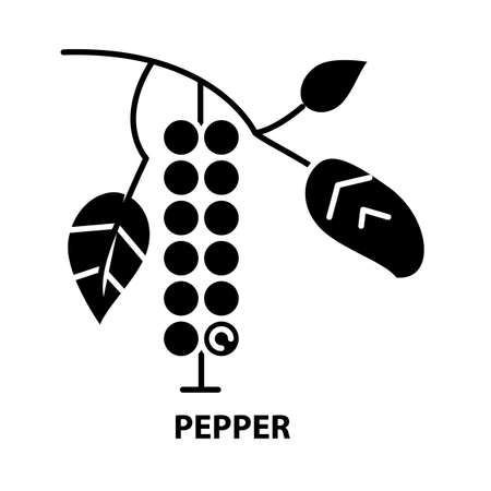 pepper symbol icon, black vector sign with editable strokes, concept illustration