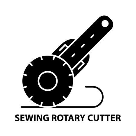 sewing rotary cutter icon, black vector sign with editable strokes, concept illustration Ilustración de vector