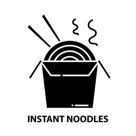 instant noodles icon, black vector sign with editable strokes, concept illustration