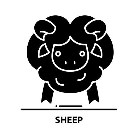 sheep icon, black vector sign with editable strokes, concept illustration