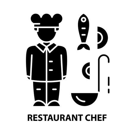 restaurant chef icon, black vector sign with editable strokes, concept illustration