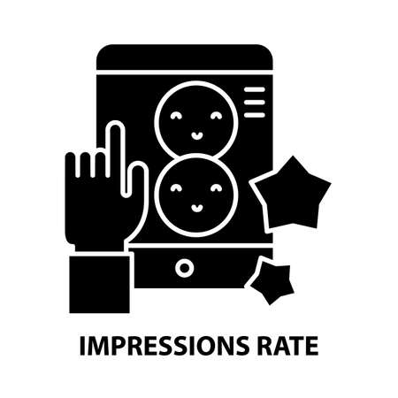 impressions rate symbol icon, black vector sign with editable strokes, concept illustration