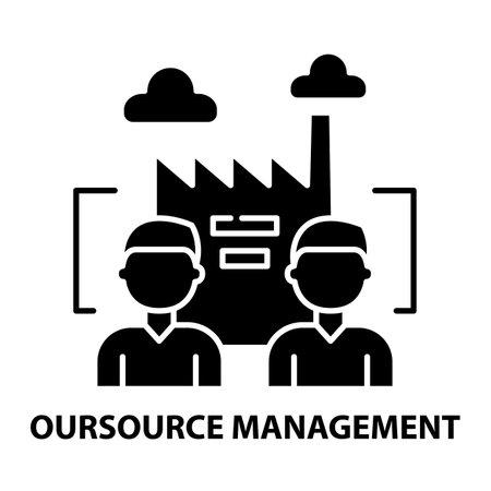 oursource management icon, black vector sign with editable strokes, concept illustration Illusztráció