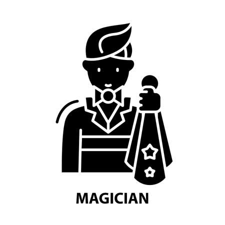 magician symbol icon, black vector sign with editable strokes, concept illustration