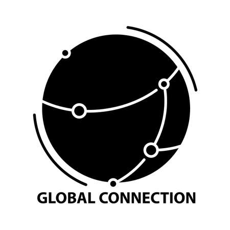 global connection concept icon, black vector sign with editable strokes, concept illustration