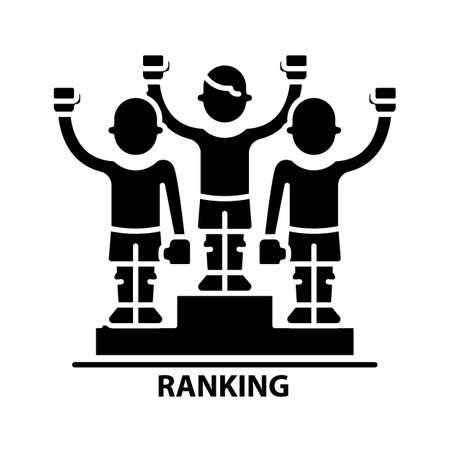 ranking symbol icon, black vector sign with editable strokes, concept illustration Vektorgrafik