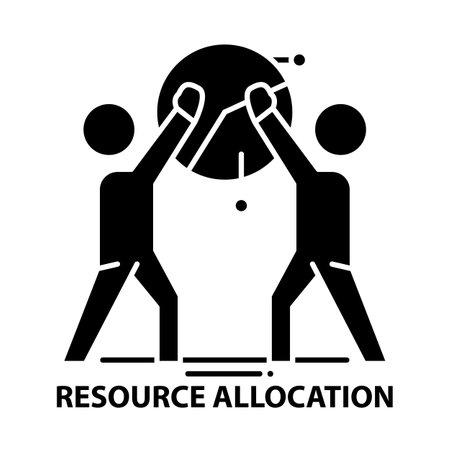 resource allocation icon, black vector sign with editable strokes, concept illustration