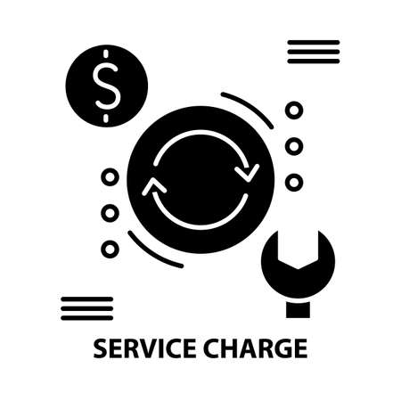 service charge icon, black vector sign with editable strokes, concept illustration