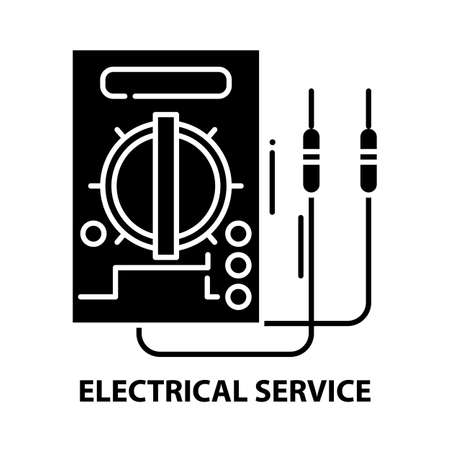 electrical service icon, black vector sign with editable strokes, concept illustration