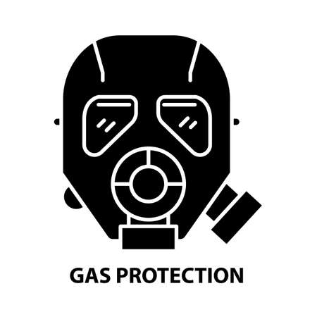 gas protection icon, black vector sign with editable strokes, concept illustration