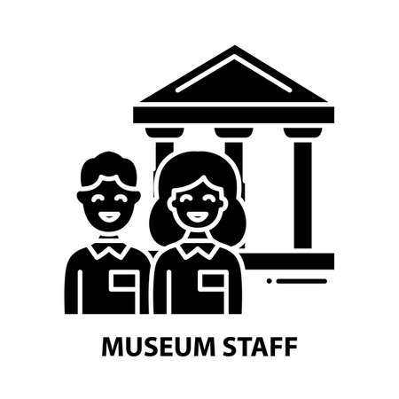 museum staff icon, black vector sign with editable strokes, concept illustration