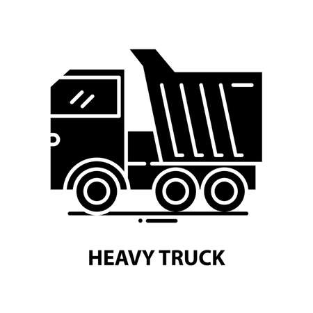 heavy truck icon, black vector sign with editable strokes, concept illustration