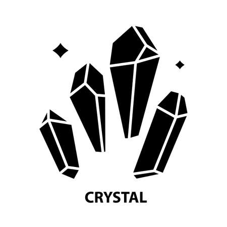 crystal icon, black vector sign with editable strokes, concept illustration