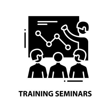 training seminars icon, black vector sign with editable strokes, concept illustration
