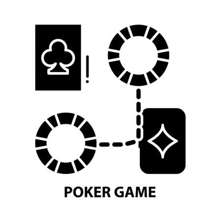 poker game icon, black vector sign with editable strokes, concept illustration