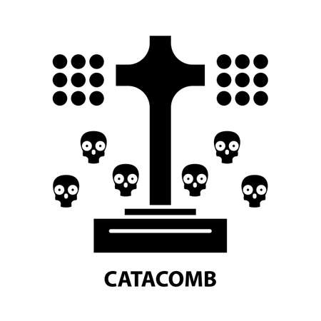 catacomb icon, black vector sign with editable strokes, concept illustration
