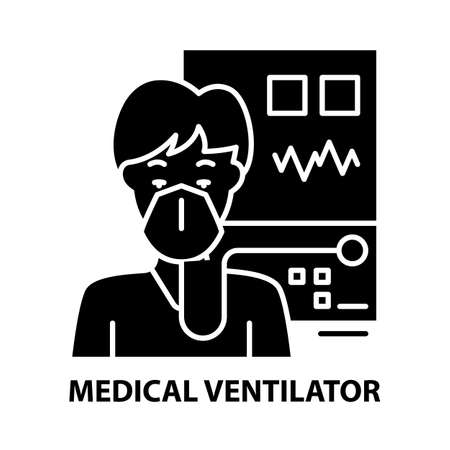 medical ventilator icon, black vector sign with editable strokes, concept illustration
