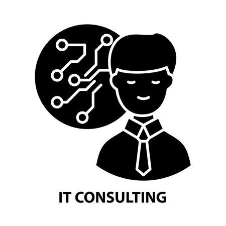 it consulting icon, black vector sign with editable strokes, concept illustration Vektorgrafik