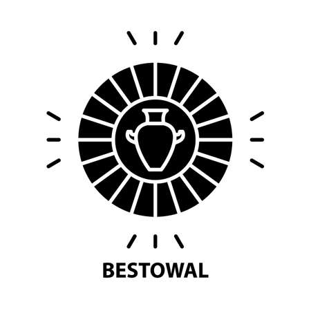 bestowal icon, black vector sign with editable strokes, concept illustration 向量圖像