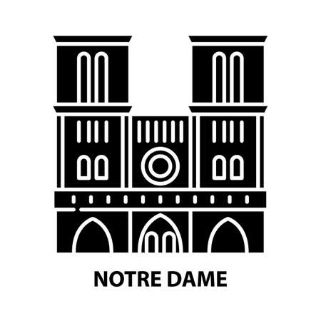 notre dame icon, black vector sign with editable strokes, concept illustration